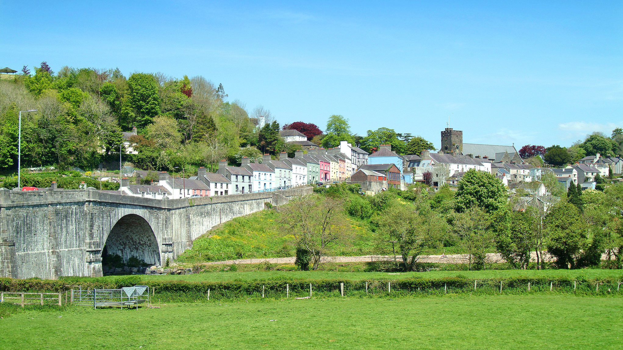 Colourful houses overlooking the river Tywi